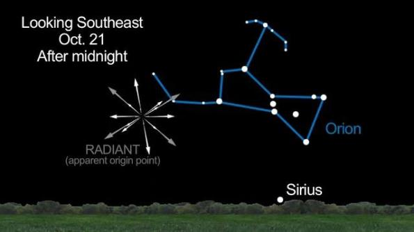 Where to look for Orionids, Oct. 20-21, 2012
