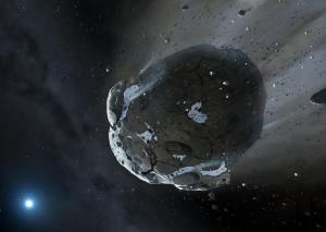This artist's conception shows an asteroid fragment around the distant white dwarf GD 61.