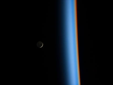 NASA Picture of the Day, Feb. 6, 2014: Crescent moon rising and Earth's atmosphere