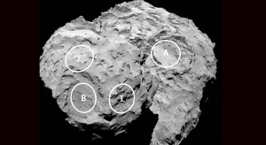This annotated image shows four of the five possible landing sites on comet 67P/Churyumov-Gerasimenko for the Philae lander. Image courtesy European Space Agency.