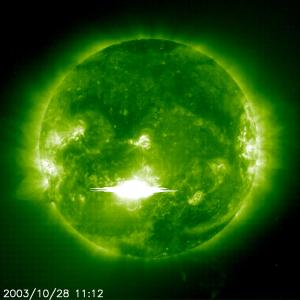 This image of the Oct. 28, 2003 solar flare was captured by ESA's Solar and Heliospheric Observatory. Image courtesy ESA.