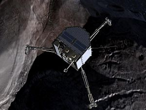 "This frame from the film ""Chasing a Comet - The Rosetta Mission"" shows an artist's conception of the Philae lander approaching comet 67P/Churyumov-Gerasimenko."