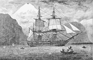 This drawing is a reproduction of R. T. Pritchett's frontispiece from the 1890 illustrated edition of The Voyage of the Beagle. Courtesy Wikimedia.