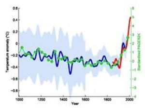 This graph, showing changes in Earth's average surface temperature since the year 1000 A.D., appeared in a 1999 paper published by climatologist Michael E. Mann and colleagues.