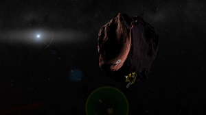 The New Horizons probe is shown visiting a Kuiper Belt Object in this artist's impression. KBOs have never been visited by spacecraft; they are remnants of the earliest days of the solar system and are found in a region full of icy debris billions of miles from the Sun. Courtesy NASA, Johns Hopkins University Applied Physics Laboratory, Southwest Research Institute.