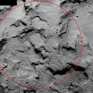 This image, obtained by Rosetta from 30 kilometers away, shows Site J. Courtesy European Space Agency.
