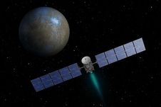 This artist's conception shows the Dawn spacecraft approaching Ceres. Courtesy NASA/Jet Propulsion Laboratory.