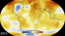 This graphic shows worldwide temperature anomalies during 2014. Courtesy NASA Goddard Space Flight Center.