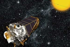 This artist's conception shows the Kepler Space Telescope in orbit. Courtesy NASA, drawing by Wendy Stenzel.