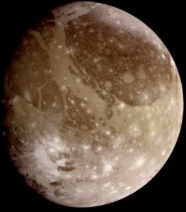 This image of Ganymede, the solar system's largest moon, was obtained by the Galileo space probe. Image courtesy NASA.