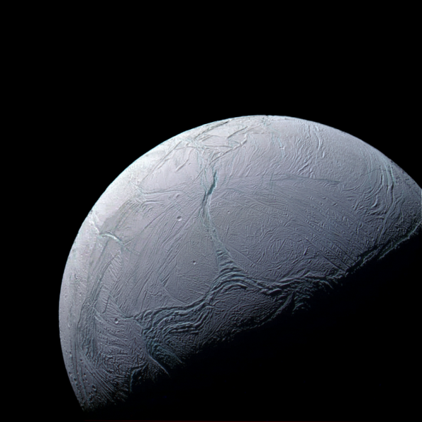 Enceladus - last fly-by, Dec. 19, 2015 - received at Earth Feb. 15, 2016 - courtesy NASA, JPL, SSI, Justin Cowart