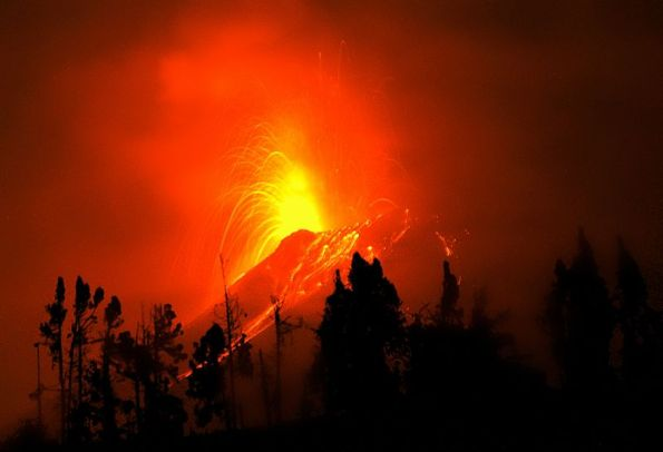 Tungurahua eruption at night, July 2015 - photo courtesy E.P.N. Geophysics Institute