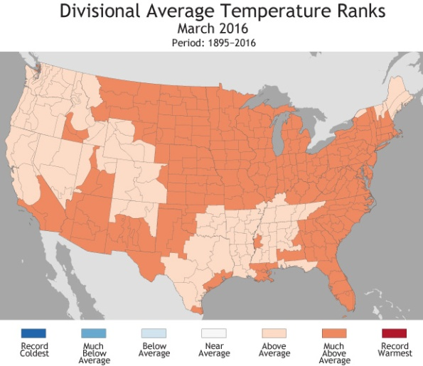 Divisional Average Temperature Ranks, March 2016 - courtesy NCEI