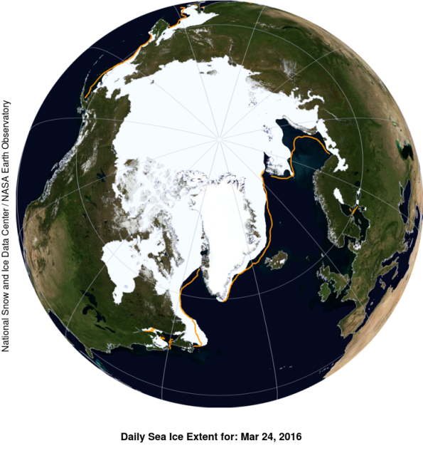 NASA Blue Marble image - March 24 Arctic sea ice cover