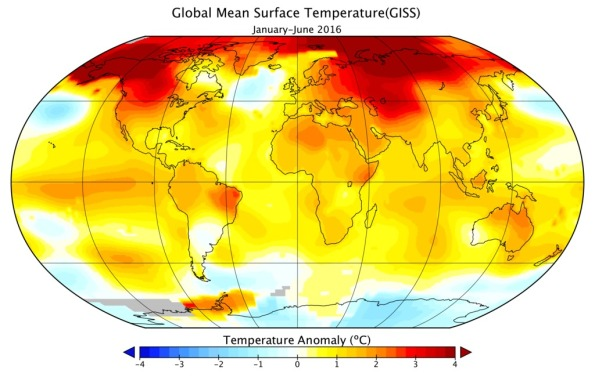Global Mean Surface Temperature, Jan. - Jun. 2016 - courtesy NASA